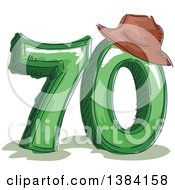 Sketched Seventieth Anniversary Or Birthday Design With Number 70 And A Hat