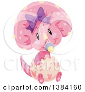 Clipart Of A Cute Pink Baby Triceratops Dinosaur Hatching Royalty Free Vector Illustration by BNP Design Studio