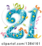 Clipart Of A Number 21 With Party Confetti Royalty Free Vector Illustration by BNP Design Studio