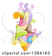 Clipart Of A Burst Of Waffle Ice Cream Cones With Different Flavored Scoops Royalty Free Vector Illustration by BNP Design Studio