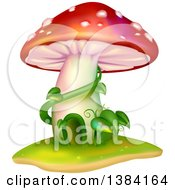 Clipart Of A Mushroom House With Vines Royalty Free Vector Illustration by BNP Design Studio