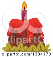 Clipart Of A Volcano Themed First Birthday Cake Royalty Free Vector Illustration