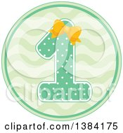 Clipart Of A First Birthday Badge With A Number 1 In Polka Dots Over Waves Royalty Free Vector Illustration
