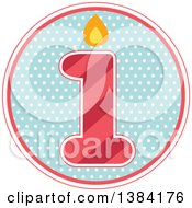 Clipart Of A First Birthday Badge With A Number 1 Over Polka Dots Royalty Free Vector Illustration