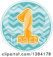 First Birthday Badge With A Number 1 Over Waves