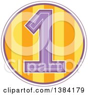 Clipart Of A First Birthday Badge With A Number 1 Over Stripes Royalty Free Vector Illustration