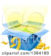 Clipart Of A Surprise Open Gift Box With Shining Lights And Stars Royalty Free Vector Illustration