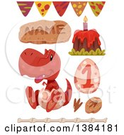 Clipart Of Red Boyish Tyrannosaurus Rex Dinosaur Themed Birthday Party Design Elements Royalty Free Vector Illustration