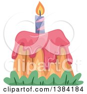 Clipart Of A Pink Volcano Themed First Birthday Cake Royalty Free Vector Illustration by BNP Design Studio