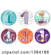 First Birthday Badges With Number 1 Robot Pirate Basketball And Rocket Themese
