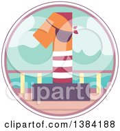 Clipart Of A First Birthday Badge With A Number 1 Pirate On A Boat Royalty Free Vector Illustration by BNP Design Studio