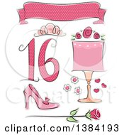 Clipart Of Sweet Sixteen Birthday Themed Design Elements Royalty Free Vector Illustration by BNP Design Studio
