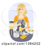 Happy Blond White Woman Making Fruit Smoothie