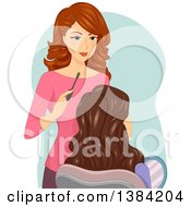 Clipart Of A White Female Makeup Artist Working Ona Client Royalty Free Vector Illustration by BNP Design Studio