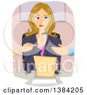 Clipart Of A Blond White Female Mediator Listening To Arguing Clients Royalty Free Vector Illustration