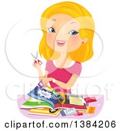 Clipart Of A Blond White Woman Cutting Coupons Royalty Free Vector Illustration