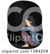 Clipart Of A Depressed Woman Crying In The Dark Royalty Free Vector Illustration