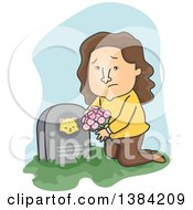 Cartoon Sad Brunette White Woman Leaving Flowers On Her Deceased Cats Grave