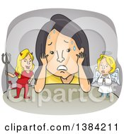 Clipart Of A Cartoon Stressed Woman Torn Between Good And Bad Ideas Royalty Free Vector Illustration by BNP Design Studio