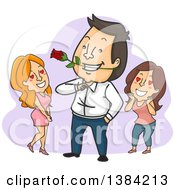 Clipart Of A Cartoon Brunette White Man Being Admired By Two Ladies Royalty Free Vector Illustration