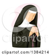 Faceless Caucasian Nun Holding A Rosary And Praying