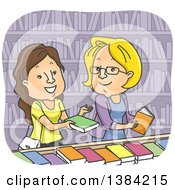 Clipart Of Cartoon Caucasian Women Discussing Books In A Library Or Store Royalty Free Vector Illustration by BNP Design Studio