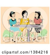 Clipart Of A Group Of Retro Women Having Tea At A Cafe Royalty Free Vector Illustration