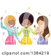 Clipart Of A Black Female Musician And Backup Singers Royalty Free Vector Illustration