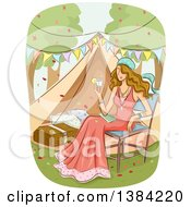 Clipart Of A Dirty Blond White Woman Holding A Cocktail And Sitting In A Chair While Glamping Royalty Free Vector Illustration