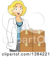 Clipart Of A Happy Blond Female Doctor With Boxes Of Medicine Royalty Free Vector Illustration