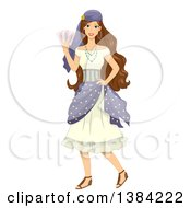 Clipart Of A Brunette Gypsy Woman Holding Cards Royalty Free Vector Illustration
