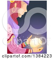 Clipart Of A Gypsy Woman Looking At A Glowing Crystal Ball Royalty Free Vector Illustration