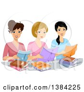 Clipart Of A Group Of Happy Women In A Book Club Reading Royalty Free Vector Illustration