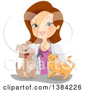 Clipart Of A Happy Brunette White Female Veterinarian With A Cat And Dog Royalty Free Vector Illustration