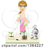 Clipart Of A Happy Blond White Female Agricultural Scientist Working In A Laboratory Royalty Free Vector Illustration