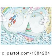 Sketched Background Of A Rocket Sailboat Castle And Rainbow