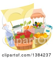 Clipart Of A Blank Sign Over Farmers Market Produce And Bushels Royalty Free Vector Illustration