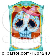 Clipart Of A Sugar Skull With A Blank Banner Royalty Free Vector Illustration