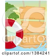 Wooden Signs On A Summer Beach With A Palm Tree And Life Buoy