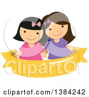 Clipart Of Happy Girls Smiling Over A Blank Ribbon Banner Royalty Free Vector Illustration