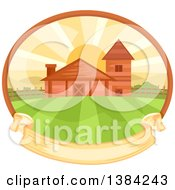 Clipart Of A Farm And Fields At Sunrise In An Oval With A Blank Ribbon Banner Royalty Free Vector Illustration