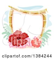Bamboo Frame With Red Gumamela Hibiscus Flowers