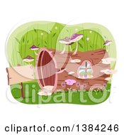 Clipart Of A Hollow Log House With Mushrooms And A Sign Royalty Free Vector Illustration