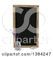 Clipart Of A Black Chalkboard And Flower Vase Royalty Free Vector Illustration