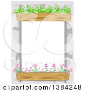 Clipart Of A Frame Border Of Flower And Lettuce Beds Around A Window Royalty Free Vector Illustration