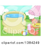 Clipart Of A Swimming Pool With Text Space A Table Beach Ball And Chairs Royalty Free Vector Illustration by BNP Design Studio