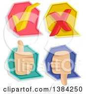 Clipart Of Check Mark X Mark Thumb Up And Thumb Down Pass Or Fail Icons Royalty Free Vector Illustration