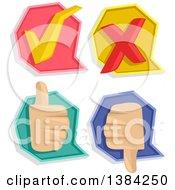 Check Mark X Mark Thumb Up And Thumb Down Pass Or Fail Icons