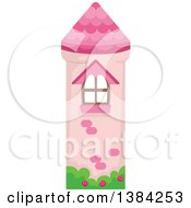 Clipart Of A Pink Castle Tower Bookmark Design Royalty Free Vector Illustration