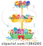 Clipart Of A Tiered Stand Filled With Patterned Easter Eggs Royalty Free Vector Illustration by BNP Design Studio